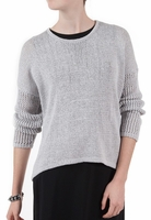 Gray Open Mesh Pullover