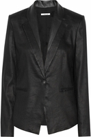 HELMUT LANG Leather-trimmed linen-blend blazer