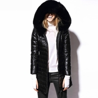 Hood Leather Down Coat with Fox Fur