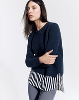 Blue Lambswool Shirttail Sweater in Stripe