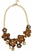 Cast Wildflower Goldtone Crystal Necklace