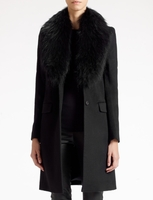 Joseph Black Wool Cashmere Coat with Fur Collar