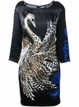 JUST CAVALLI Styled Black Swan Print Dress