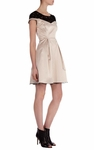 KAREN MILLEN Beige Cotton Sateen Panelled Dress