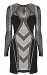 Karen Millen Black Geometric Embroidery Dress