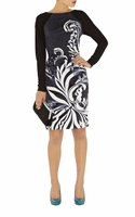 KAREN MILLEN MONOCHROME PENCIL DRESS (ON SALE)