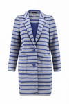 Kate Spade Gray Oversize Scuba Stripe Coat