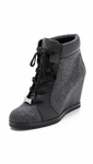 Gray Saja Wedge Booties Blackgrey