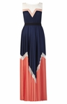 Kathrine Pleated Color-Blocked Long Dress - 4.5