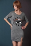 Gray Eye Embroidered Sweatshirt Dress