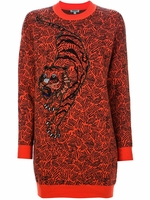 Orange Tiger Sweater Dress