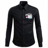 Black Tiger Embroidered Cotton Poplin Shirt