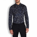 Blue Constellation Print Cotton Shirt