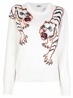 White Embellished Tiger Pullover (On Sale)