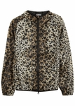 Leopard print hooded shell jacket
