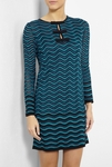 Blue Bow Front Wave Knit Dress