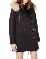 Maje Black Gaston Fur Trim Parka