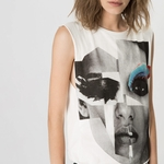 Maje KARPE Face-print cotton T-shirt
