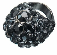 Black Crystal Gem Bauble Ring