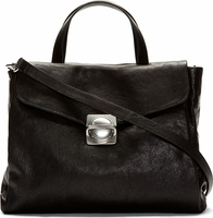 Black Grained Circle in Square Satchel Bag