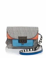 Multicolor Lip Lock Optical Stripe Multi Xbody Bag
