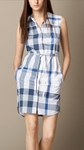 Margaux Check Print Sleeveless Cotton Voile Shirtdress