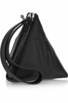 Mcq Script Black Leather Pyramid Clutch