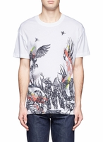 Multicolor Animals and Initials Print Short Sleeve Tee