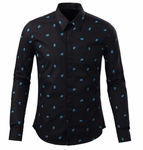 Mini Skull Bone Print Dress Shirt