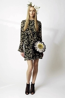 Black Daisy Print Silk Georgette Mini Dress
