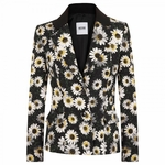Moschino Cheap & Chic Multicolor Daisy Print Crepe Jacket