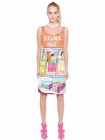 Moschino Cheap & Chic Stone Age Comic Print Stretch Cady Dress