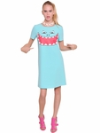 Moschino Cheap & Chic Pink Monster Printed Stretch Cady Dress