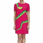 Moschino Cheap & Chic Pink Half Sleeve Cady Printed Snake Dress
