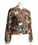 Multicolor Butterfly Brocade Bomber Jacket