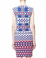 Multicolor Graphic Check Capsleeve Dress Bluewhitered