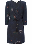 Navy blue Printed Wrap Dress