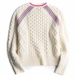 Neontrimmed Cropped Cableknit Sweater