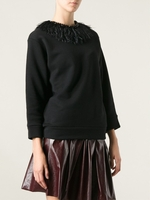 Black Ostrich Feather Sweatshirt