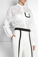 White Caris Oversized Lace and Cotton Shirt