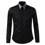 Patched Collar Dress Shirt