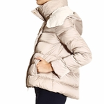 Patrizia Pepe SHORT REVERSIBLE REAL DOWN JACKET WITH REMOVABLE HOOD