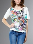 White Printed Cotton Jersey Tshirt