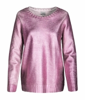 Pink Adamson Metallic Pointelle Sweater