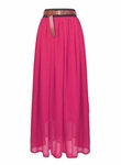 Pink Chiffon Long Pleated Maxi Skirt
