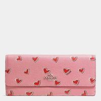 Pink Soft Wallet In Heart Print Crossgrain Leather