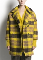 PINK TARTAN PLAID COAT IN CAMEL