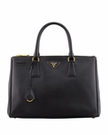 Black Saffiano Doublezip Executive Tote Bag