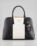 White Bicolor Saffiano Promenade Bag (Final Sale)