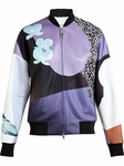 Purple Floral Collage Bomber Jacket